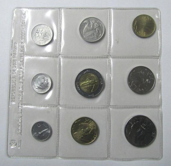 San Marino Set De 9 Monedas 1 A 500 Liras Año 1985 Unc