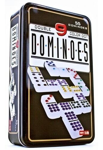 Juego De Domino Doble 9 En Caja Metalica 55 Fichas Bisonte