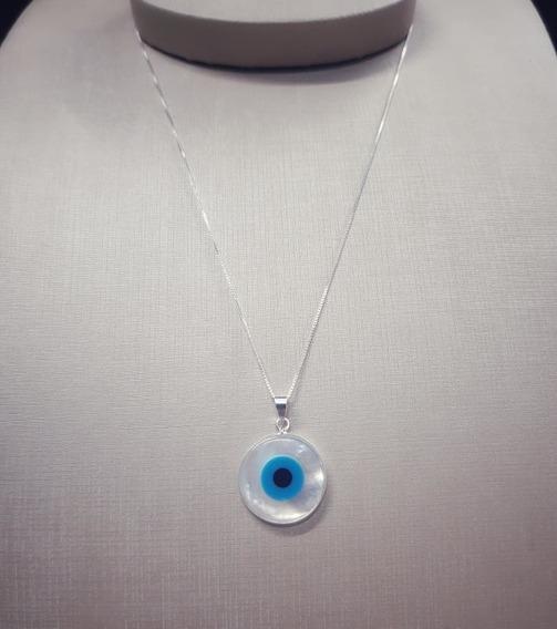 Colar Prata Legítima Olho Grego Com Certificado Garantia