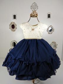 Vestido Infantil Luxo Festa Bege E Azul Marinho + Lacinho