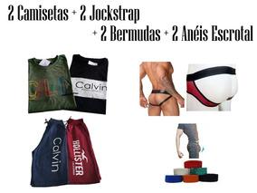 Kit 8 Itens Masculino Camiseta, Bermuda, Jockstrap E Anel
