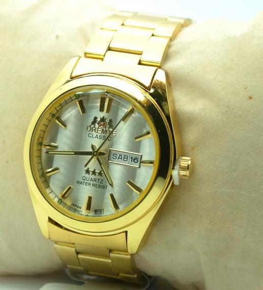 Relógio Pulso Masculino Dourado Estilo Clássico Social Barat