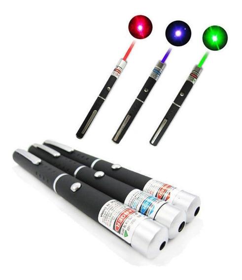 10 Caneta Laser Pointer 5mw Vermelho, Verde Ou Azul