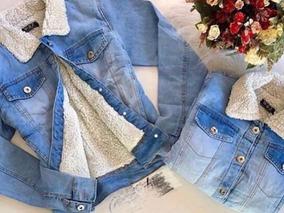 Jaqueta Jeans Forrada Com Pelúcia Feminina
