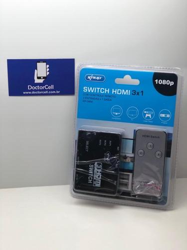 Switch Hdmi 3x1 Com Controle Remoto 3 Entradas X 1 Saída
