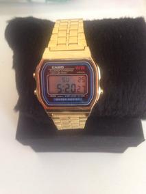 Relógio Casio Unissex Social L Dourado Gold Retro