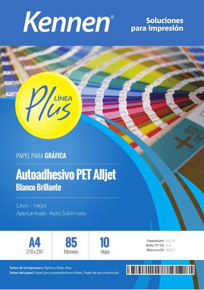 Papel Film Autoadhesivo Blanco A4 Pet Inkjet Resistente 10h