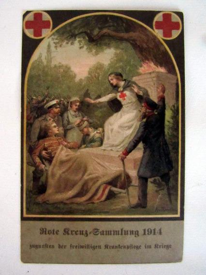 Cartão Postal Cruz Vermelha Selo Alemão Reich 1914