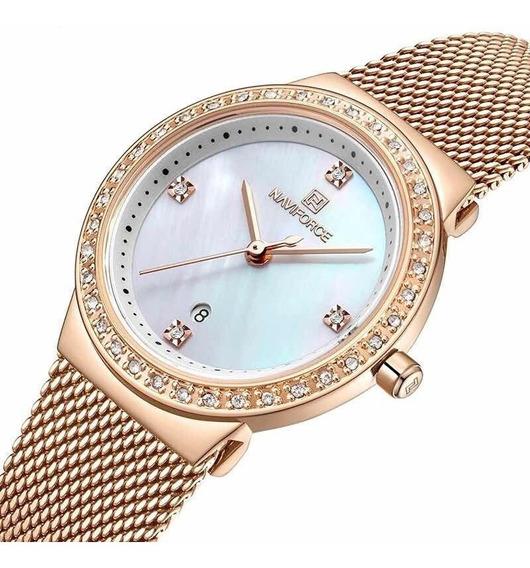 Relógio Feminino Naviforce Aço Inoxidável Strass