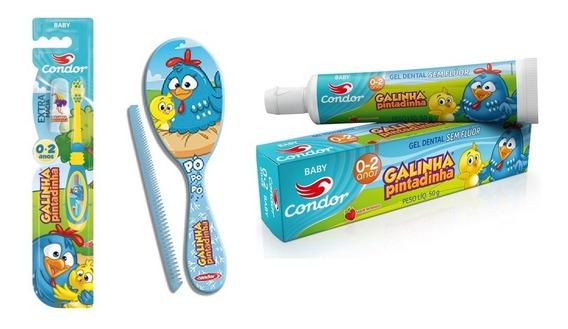 Kit Baby Galinha Pintadinha - Escova + Creme Dental + Pente