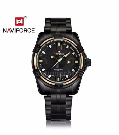 Relógio Masculino Original Naviforce Em Aço Resistente Água