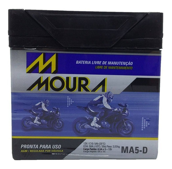 Bateria Biz Bros 150 Moto Cg 125 Es Partida Elétrica Ma5-d