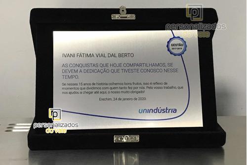 Placa De Homenagem/formatura Aço Inox Estojo De Veludo
