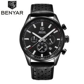 Relógio Masculino Pulseira De Couro Benyar Original **lindo