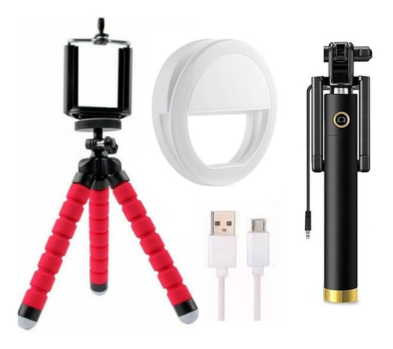 Kit Pau De Selfie Celular Monopod P2+mini Tripé+flash