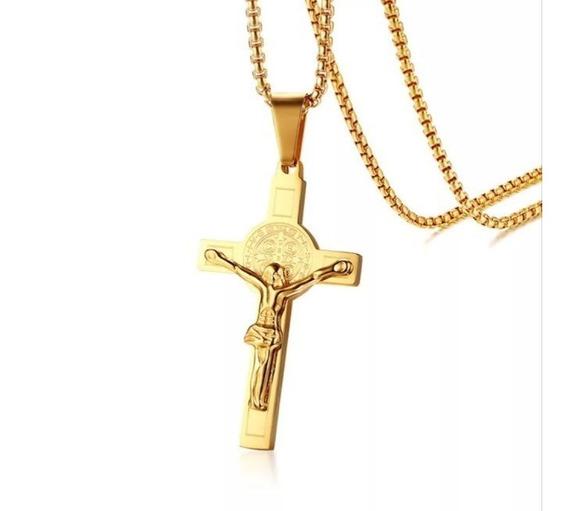 Colar Masculino Crucifixo Aço Inox Banhado A Ouro Cordão
