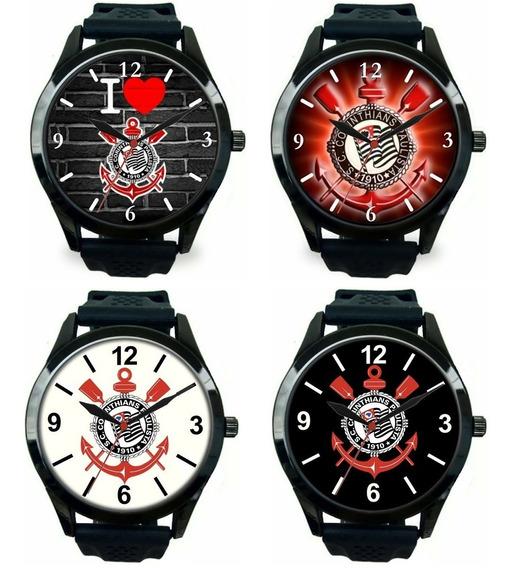 Kit 4 Relógios Pulso Corinthians Masculino Barato Grande