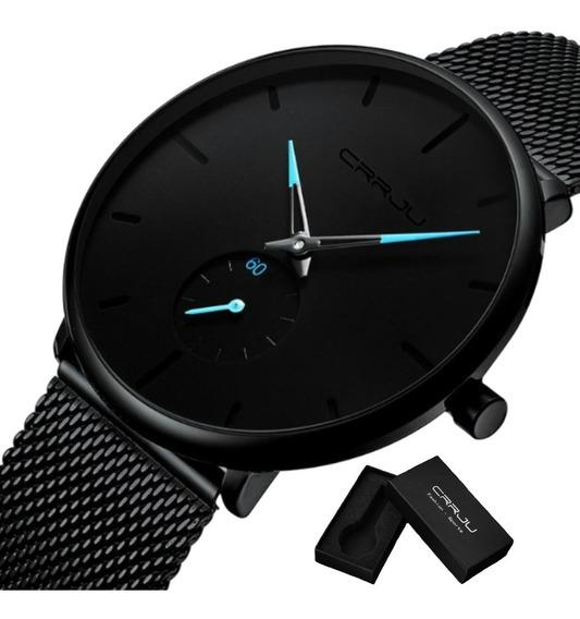 Relógio Masculino Crrju Original Ponteiro Azul Ultra Fino