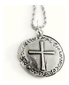 Medalha Das Duas Cruzes Com Corrente Inox