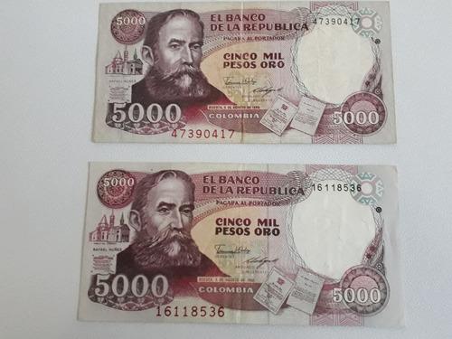 Imagen 1 de 2 de Billetes  De Colombia De 1988 Hechos En Italia Y Alemania
