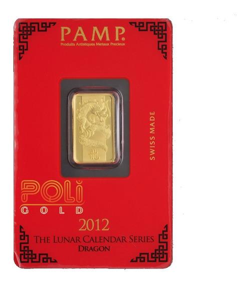 Lingote De Pamp 5 Gramos De Oro Puro 0,999 24k 2012 Dragon