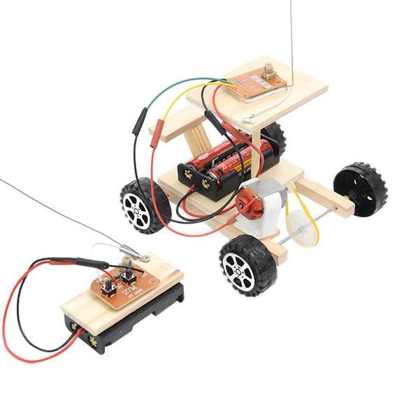 Carro Controle Remoto Sem Fio De Madeira Brinquedo Educativo