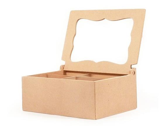 Caja De Te Con Vidrio 4 Divs Fibrofacil Oferta X6 Unidades!