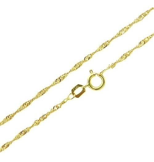 Corrente Colar Cordão Feminina Singapura 60cm De Ouro18k-750