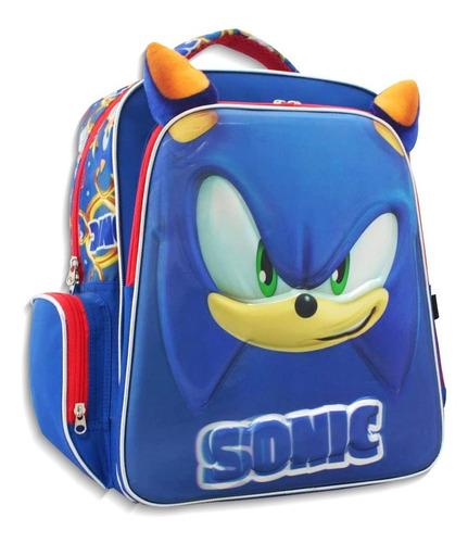Imagen 1 de 8 de Mochila Escolar Infantil Doble Compartimiento Sonic