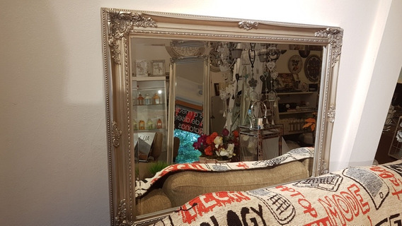 Espejo Plateado Mad. 82x62 Laqueado Vidrio Biselado Vintage