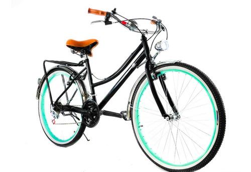 Imagen 1 de 10 de Bicicleta Retro Vintage Con Faro. Personalizada Con Tu Nombre. Accesorios Incluidos Y 18 Velocidades.