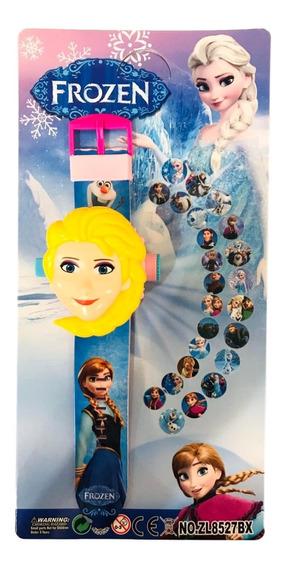 Relógio Infantil Frozen Ana Projetor De Imagem 24 Grids