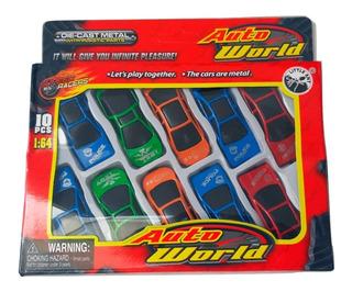 Blister Autitos Juguete X10 Ideal Niños 1:64 Auto World