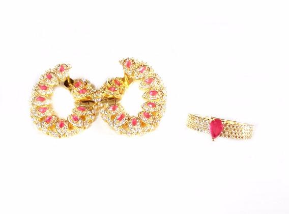 Semi Jóias Anel N°16 E Brinco Dourado Pedras Rosa