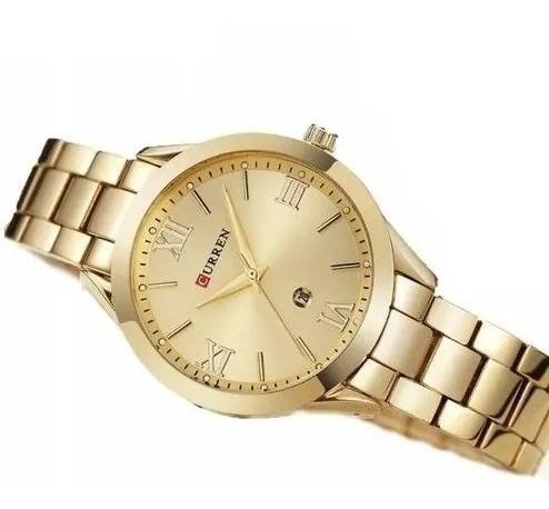 Relógio Quartzo Original Curren Modelo Feminino Cor Dourada