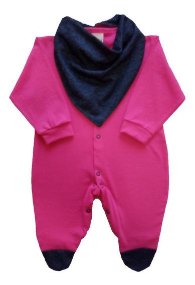 Macacão Bebê Menina 100% Algodão Com Bandana Rn - P - M - G