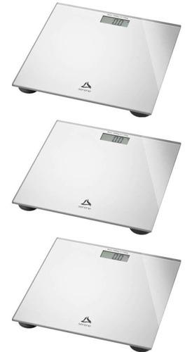 Imagem 1 de 1 de Multilaser Balança P/ Banheiro Digital Prata (kit C/03)