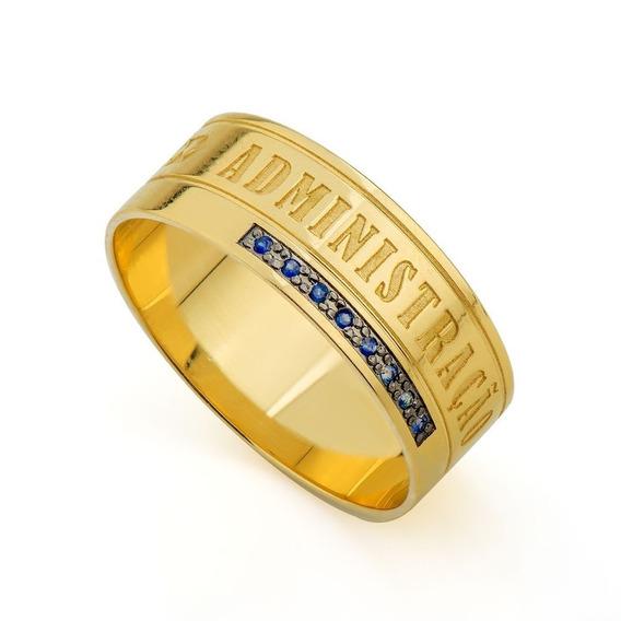 Anel De Formatura Em Ouro 18k Safira - Anf003