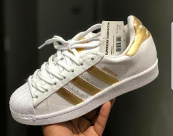 Tênis Super Star adidas Branco E Dourado