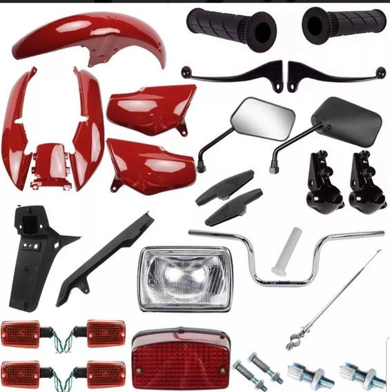 Kit Carenagem + Guidao Farol Titan 95 96 97 98 99 Vermelho
