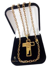 Corrente Masculina Banhada A Ouro 18k Cordão 60cm + Pingente