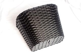 Canasto Plastico Para Bicicleta Negro (simil Mimbre) Swka117