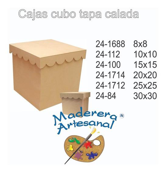 Caja Cubo De 15x15 Tapa Calada De Fibrofacil Organizadora