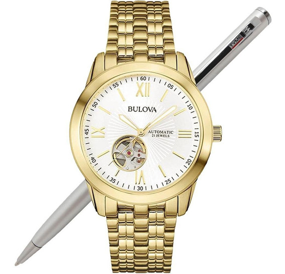 Relógio Bulova Masculino Automático Dourado Wb32004h C/ Nfe