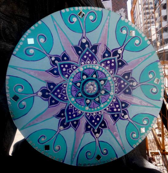 Cuadros Mandalas Pintados A Mano Con Piedras / 40cm Diametro