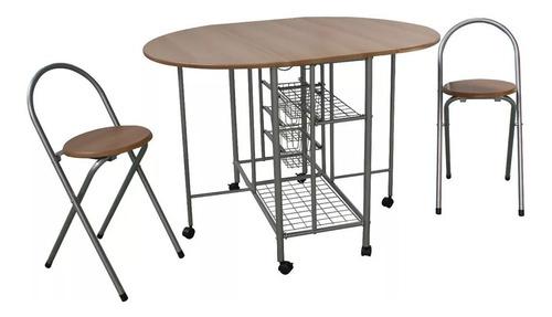 Desayunador - Mesa Cocina Plegable Auxiliar Con 2 Banquetas