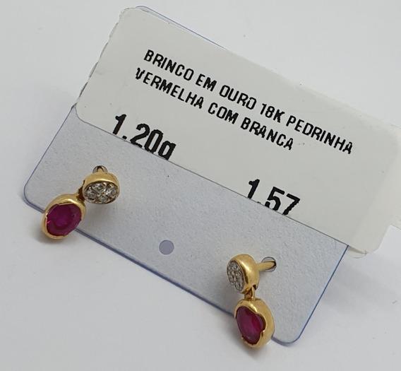 Brinco Em Ouro 18k Lua Estrela Redondo 1,20g