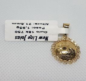 Pingente Em Ouro 18k 750 Mandala Egípcio 2,75g Impecável