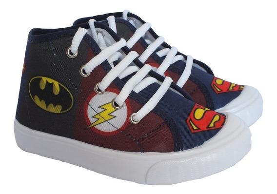 Tênis Cano Médio Botinha Menino Batman Superman