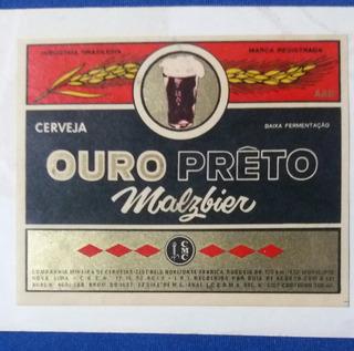 Rótulo Cerveja Ouro Preto Malzbier Nova Lima Minas Gerais